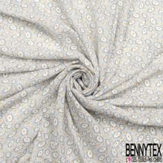 Fibrane Viscose Imprimé Motif fleur moutarde et rond ovale bleu marine Fond blanc