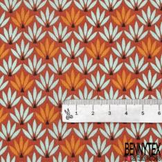 Coton Imprimé Motif buisson bleu azur et orange Fond brique