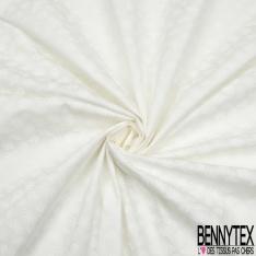 Popeline Coton Imprimé Motif feuillage blanc Fond blanc cassé