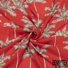 Fibrane Viscose Imprimé Motif palmier blanc et gris Fond orange sanguine