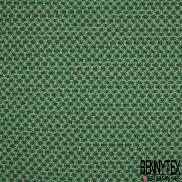Jersey Viscose Imprimé Motif fleur rouge et bleu nuit Fond vert gazon