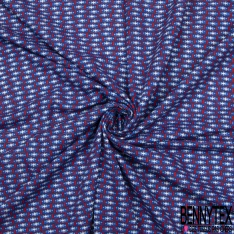 Jersey Viscose Imprimé Motif rectangulaire rouge vif Fond bleu roi