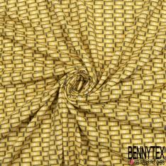 Jersey Viscose Imprimé Motif rectangulaire gris anthracite Fond jaune moutarde clair
