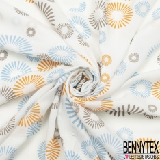 Fibrane Viscose Imprimé Motif fleur ronde bleu marine Fond blanc