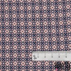 Fibrane Viscose Imprimé Motif fleur fantaisie rose fond bleu marine