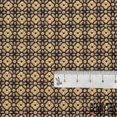 Fibrane Viscose Imprimé Motif fleur fantaisie moutarde fond marron