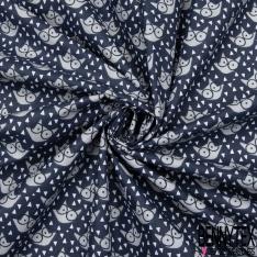 Coton Imprimé Motif tête de renard gris souris Fond bleu nuit