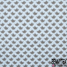 Coton Imprimé Motif tête de renard taupe Fond bleu ciel