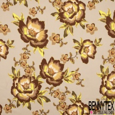 Fibrane Viscose Imprimé Motif floral tons taupe choco jaune Fond nude