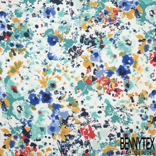 Voile Viscose Motif floral multicolore nuance orange