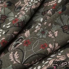 Voile Viscose Motif floral Fond kaki