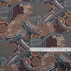 Fibrane Viscose Imprimé Motif pictural ethnique ton naturel nuance lie de vin