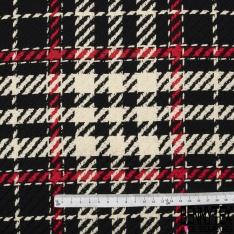 Coton Natté Imprimé Prince de Galles fond Noir