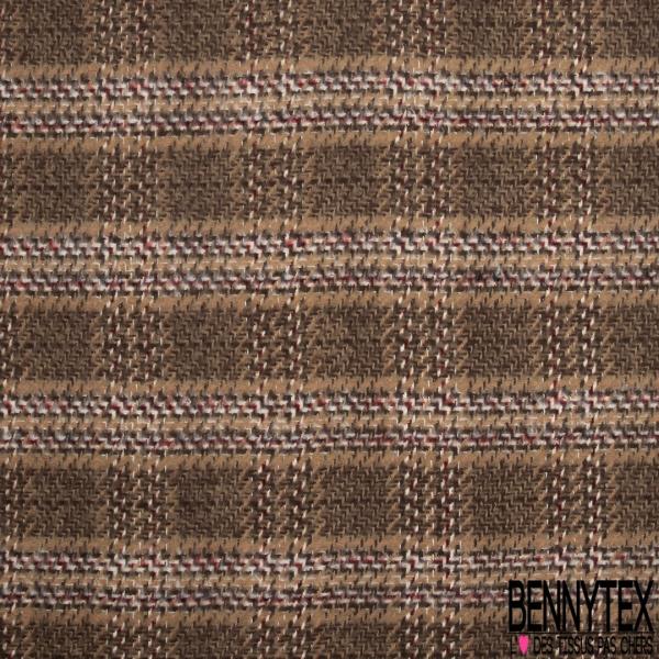 Coton Natté Doux Imprimé Prince de Galles tons Taupe