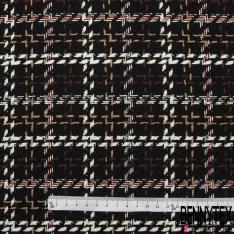 Coton Natté Doux Imprimé Prince de Galles fond Noir