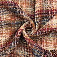 Coton Natté Gauffré Imprimé petits Carreaux multicolores