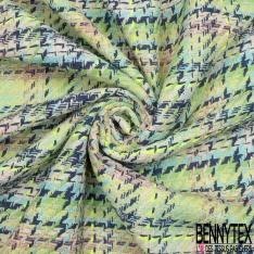 Coton Natté Imprimé Prince de Galles couleurs Fluorescentes