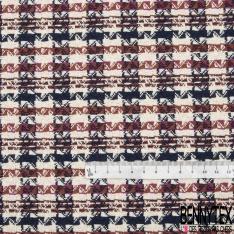 Coton Natté Imprimé petits carreaux marines bordeaux fond Blanc