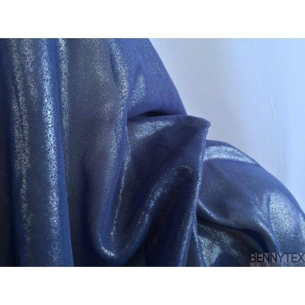 Mousseline Polyester Pailleté Lacqué Bleue