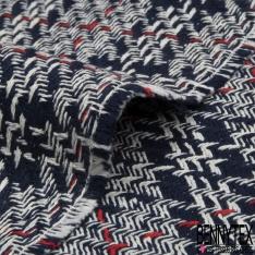 Coton Natté Imprimé Prince de Galles Marine Blanc Rouge