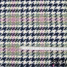Coton Natté Imprimé Prince de Galles Marine Blanc Vert Violet