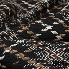 Coton Natté Imprimé Prince de Galles Taupe Blanc fond Noir
