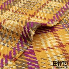 Coton Natté Imprimé Prince de Galles Moutarde Kaki Violet