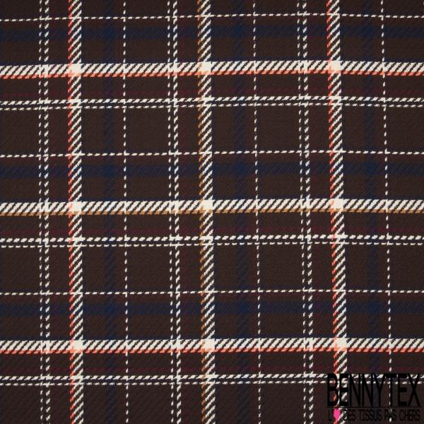 Coton Natté Imprimé Prince de Galles Fond Choco