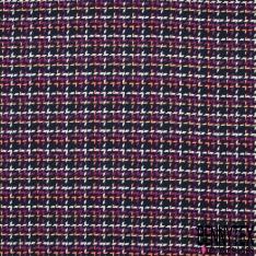 Coton Natté Imprimé Carreaux fond Noir