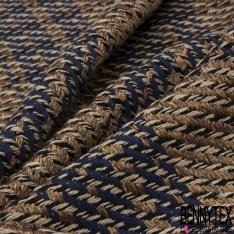 Coton Natté Imprimé Prince de Galles Taupe Marine Brillant