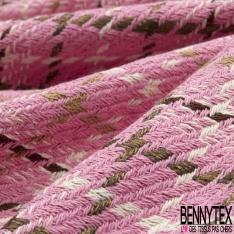 Coton Natté Imprimé Carreaux fond Rose