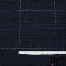Coton Natté Imprimé Carreaux Bleus fond Marine