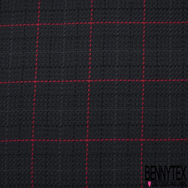 Coton Natté Imprimé Carreaux Rouge Fond Gris anthracite