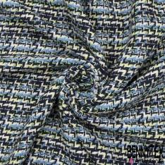 Coton Natté Imprimé Carreaux Marine Vert Bleu Blanc