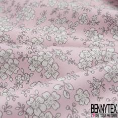 Coton imprimé Motif Floral blanc Fond Rose
