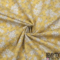 Coton imprimé Motif Floral blanc Fond jaune pâle
