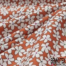 Coton imprimé Motif fleur blanche Fond brique