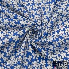 Coton imprimé Motif fleur blanche Fond bleu électrique