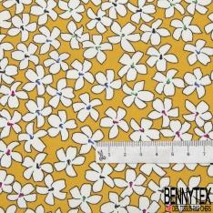 Coton imprimé Motif fleur blanche Fond moutarde