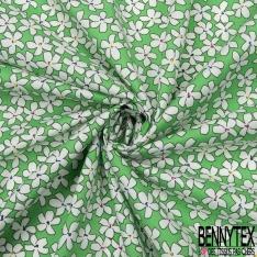 Coton imprimé Motif fleur blanche Fond vert