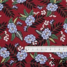 Coton imprimé Motif fleur bleu Fond bordeaux