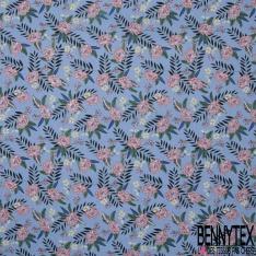 Coton imprimé Motif fleur bordeaux Fond bleu indigo