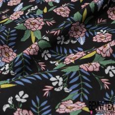 Coton imprimé Motif fleur bordeaux Fond noir