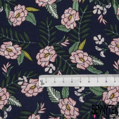 Coton imprimé Motif fleur fuchsia Fond bleu marine