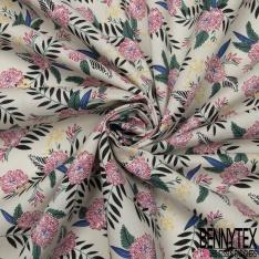 Coton imprimé Motif fleur fuchsia Fond sable