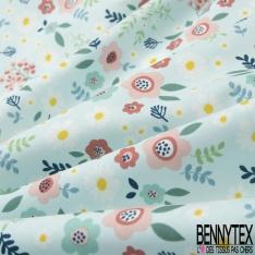 Coton imprimé Motif fleur enfantin multicolore Fond bleu clair