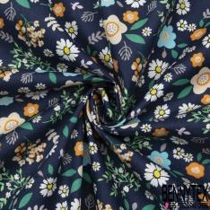 Coton imprimé Motif fleur enfantin multicolore Fond bleu marine