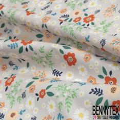 Coton imprimé Motif fleur enfantin multicolore Fond gris perle