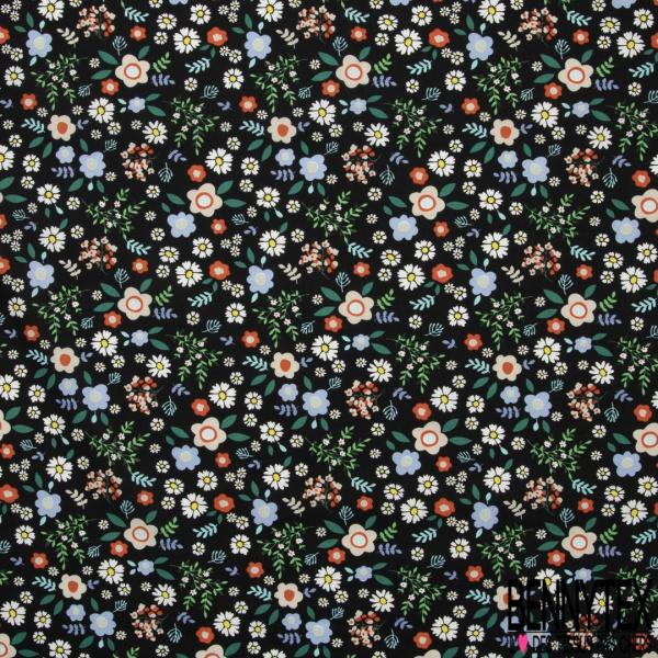 Coton imprimé Motif fleur enfantin multicolore Fond noir