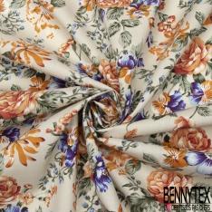 Coton imprimé Motif fleur orange et violet Fond sable